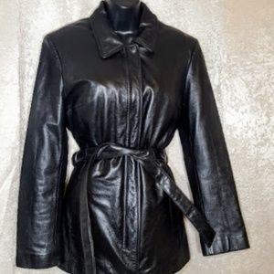Wilsons Leather Black Jacket Thinsulate EUC sz M